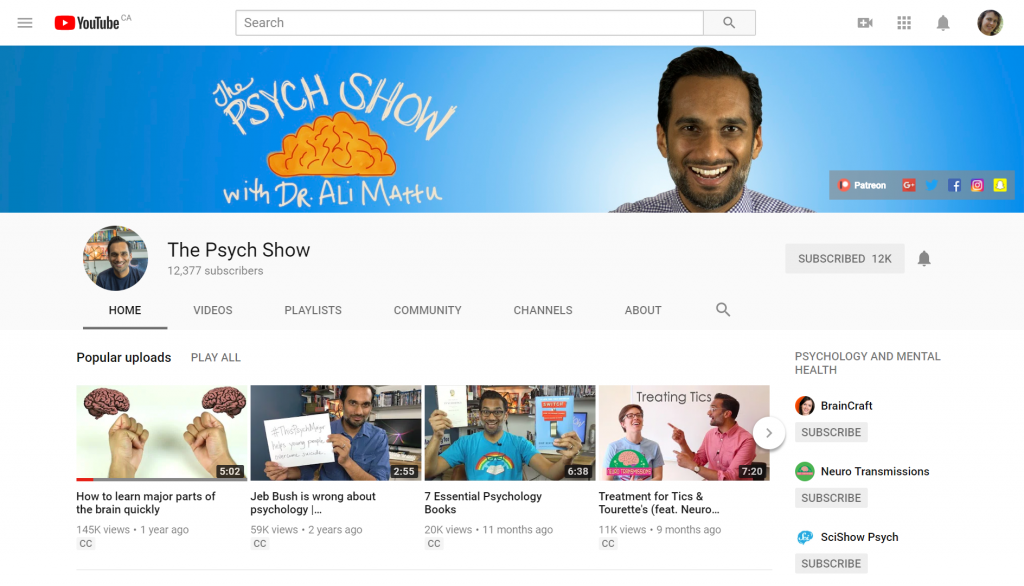 The Psych Show is run by Dr. Ali Mattu, a clinical psychologist. With 369,755 views since Nov 4, 2014 he reaches a lot of people.